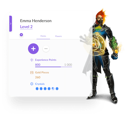 Classcraft character with student name and character information