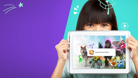 Girl holding up an iPad with the image of Classcraft characters and text reading, 'Respecting others' on it.