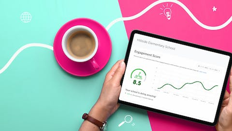 iPad with a graph and text reading, 'Engagement score.'