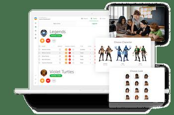 Multiple images of the Classcraft platform
