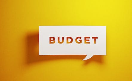 Graphic of a speech bubble with the word budget inside.