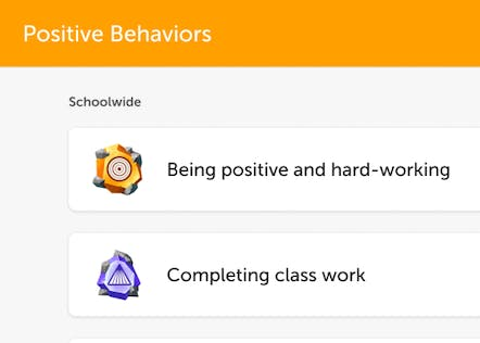 Cool icons of behaviors that students can earn points for