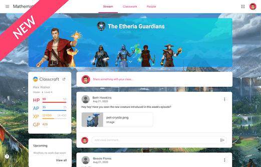 Screenshot of the Classcraft Chrome Extention