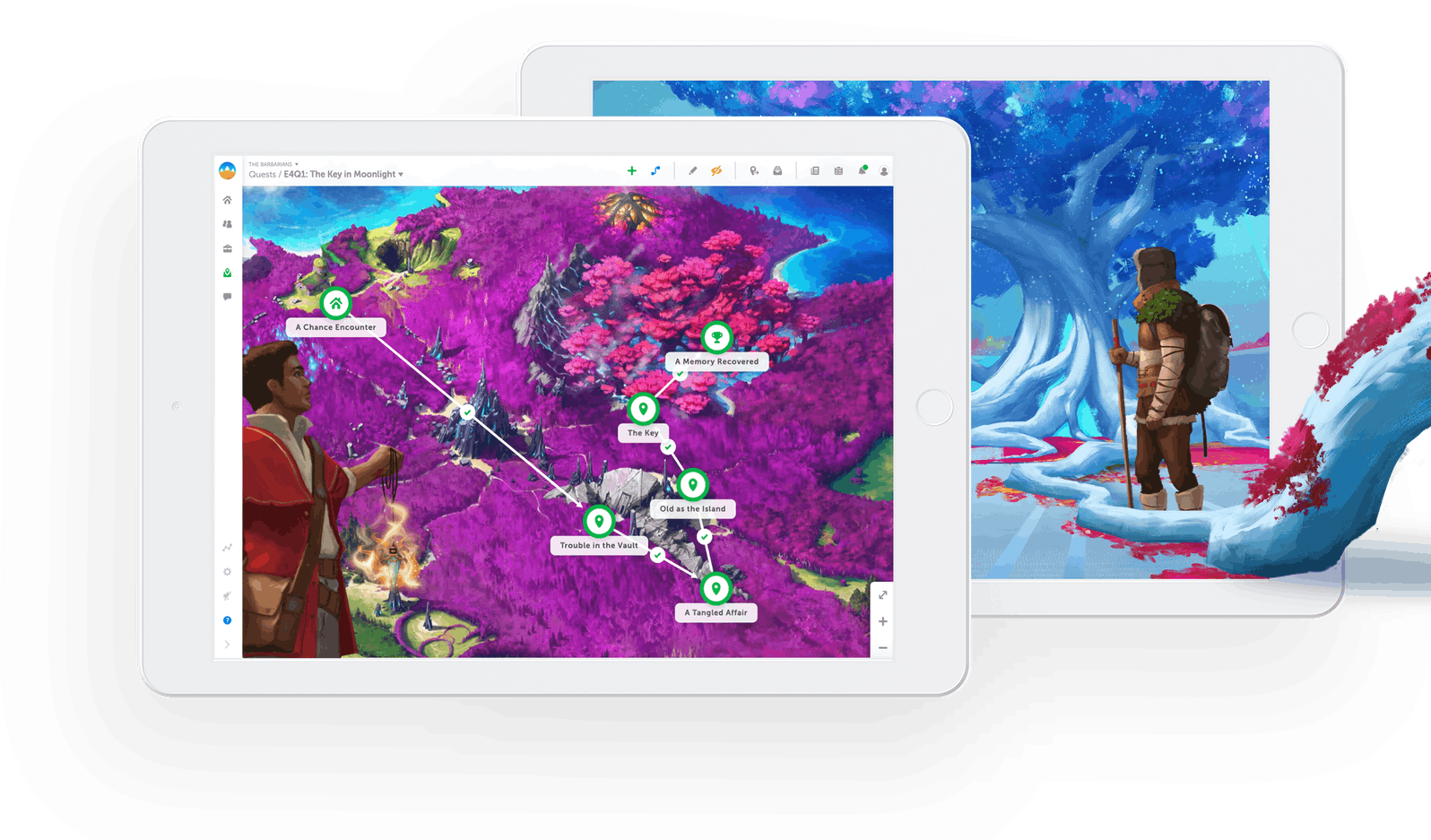 Devices showing a quest map in Classcraft as well as characters from Story Mode